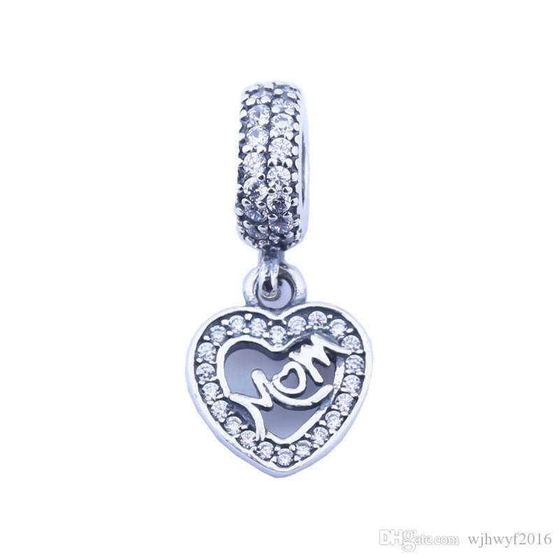 Dangle Mom Heart Charms 925 Sterling Silver Micro Pave CZ Family ... 47b03c501548