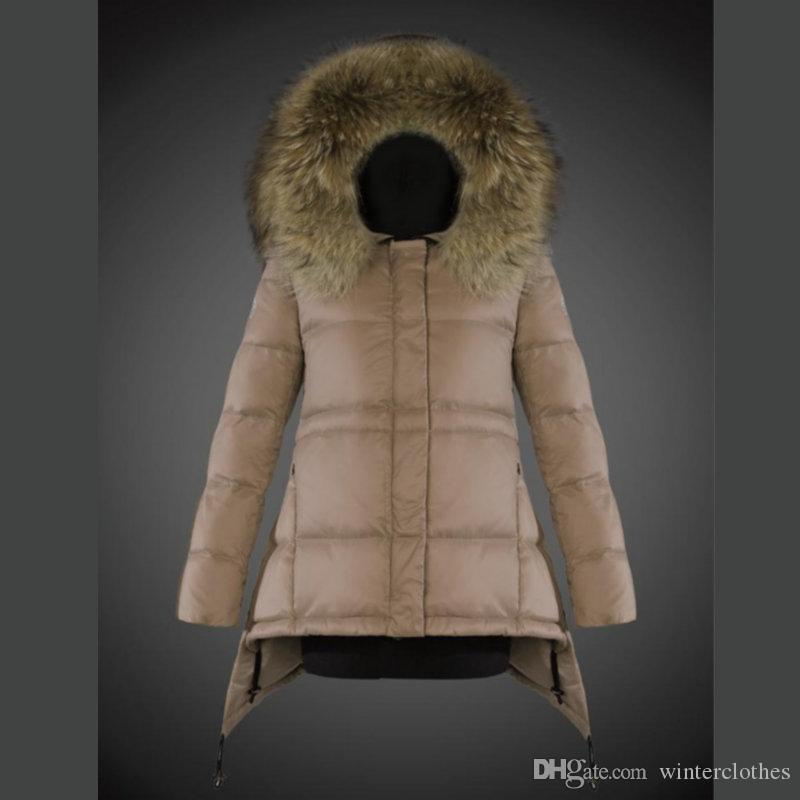 Ladies Jacket Puffer Duck Down Real Fur Trim Hood feather dress Outdoor Coats Women Clothing Fashion Parka