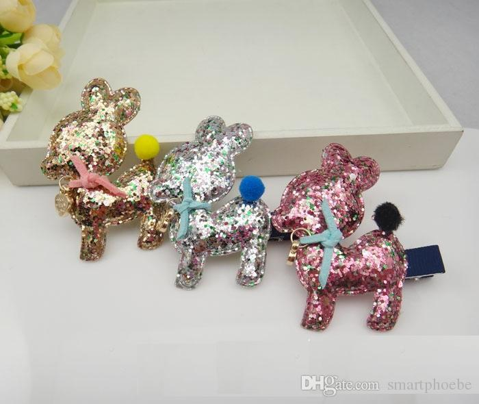 Wholesale Boutique /6C Cute Deer Baby Girls Barrettes Glitter Solidl Girls Hairpin Kids Hair Accessories