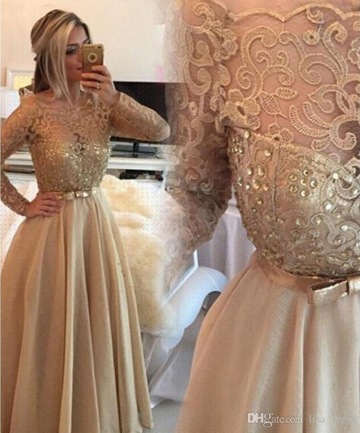 Gold Prom Dresses With Long Sleeve Chiffon And Lace A-line 2017 Formal Dubai Evening Party Gowns Vestidos Longos Para Formatura