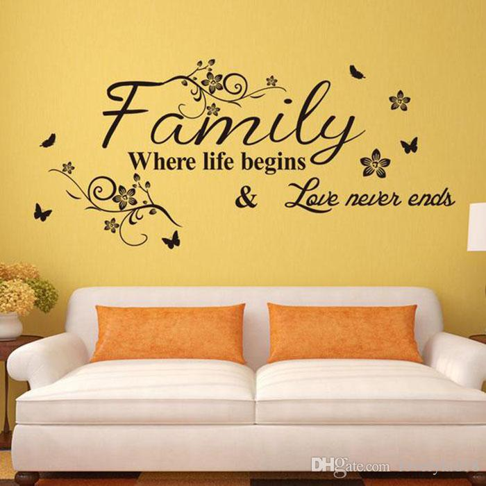 Novelty Family Where Life Begins Love Never Ends Wall Stickers ...