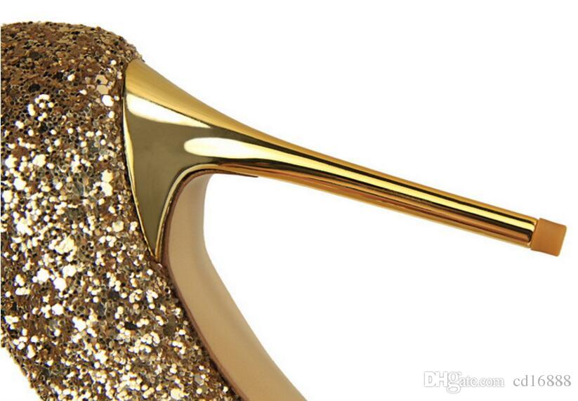 2018 new European style women pumps shoes shallow mouth Pointed sparkle glitter seductive sexy Wedding shoes woman Thin nightclub high heels