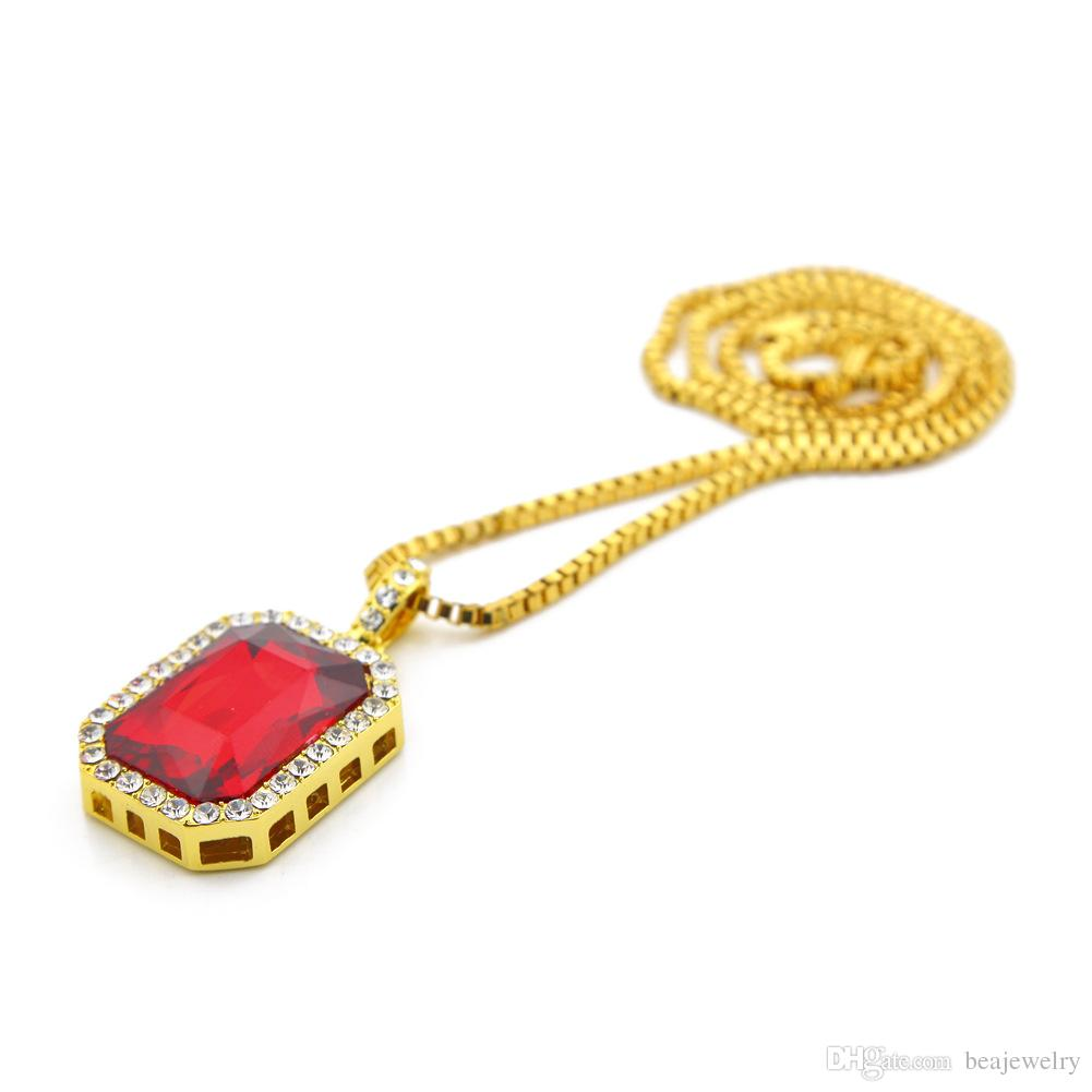 Faux Ruby Onyx Pendant Necklace Square Red Black Blue Green White Stone Pendant 30inch Box Chain Mens Jewelry