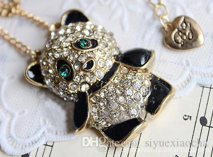 Goldpanda Neaklace mit vollem Diamant, Legierungsmaterial, nicht verblassen, bequem, hohe Qualität und kostenloser Versand