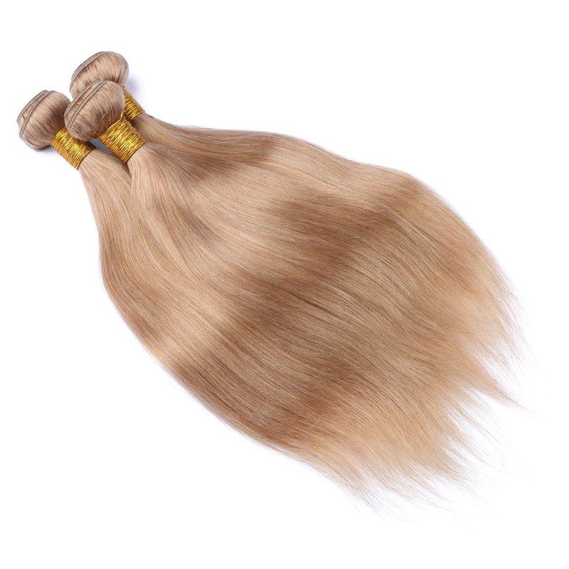 9A # 27 페루 딸기 금발 인간의 머리카락 직물 확장 실키 스트레이트 꿀 금발 머리 Wefts 페루 금발의 3Bundles