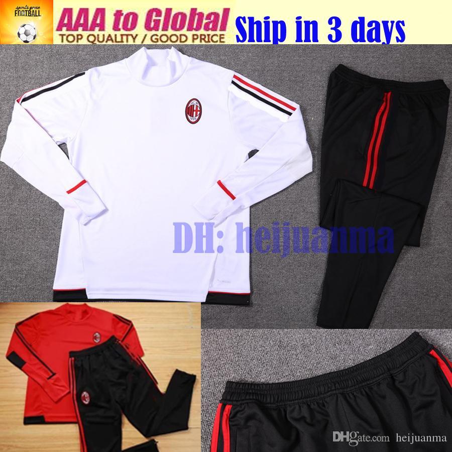 16dc2233e Top Quality 2018 AC Milan Soccer Training Suit Sweat Shirt Pants  Survetement 17 18  9 ANDRE SILVA AC Milan Sweater Tracksuit Set Jersey AC  Milan Training ...