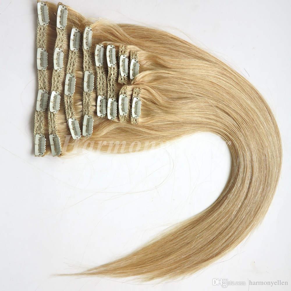 Medium Blonde 22 Clip In Human Hair Extensions 16 28 Clip In Hair