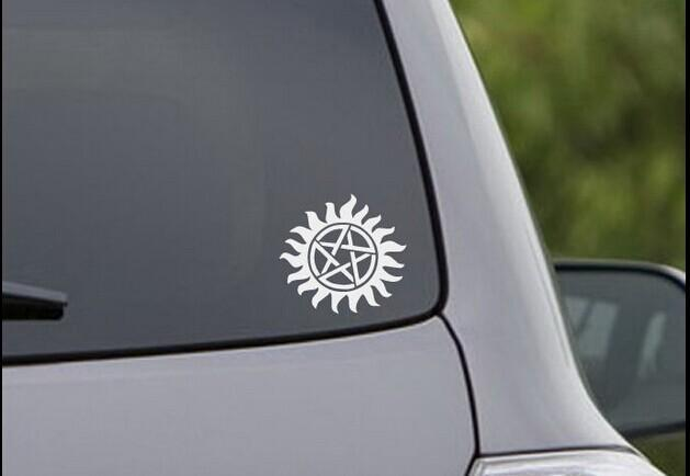 Anti-Possession Symbol Car Decal Sticker Supernatural cat Vinyl funny funny  Car phone window Decal window sticker Color /reflective silver