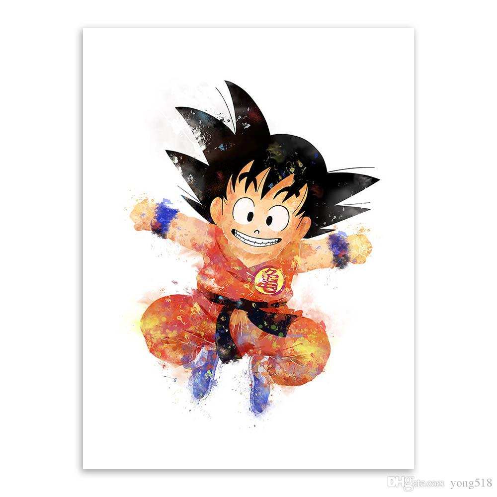 Modern Watercolor Japanese Anime Dragon Ball Canvas A4 Art Print Poster Goku Wall Picture Home Decor Paintings No Frame
