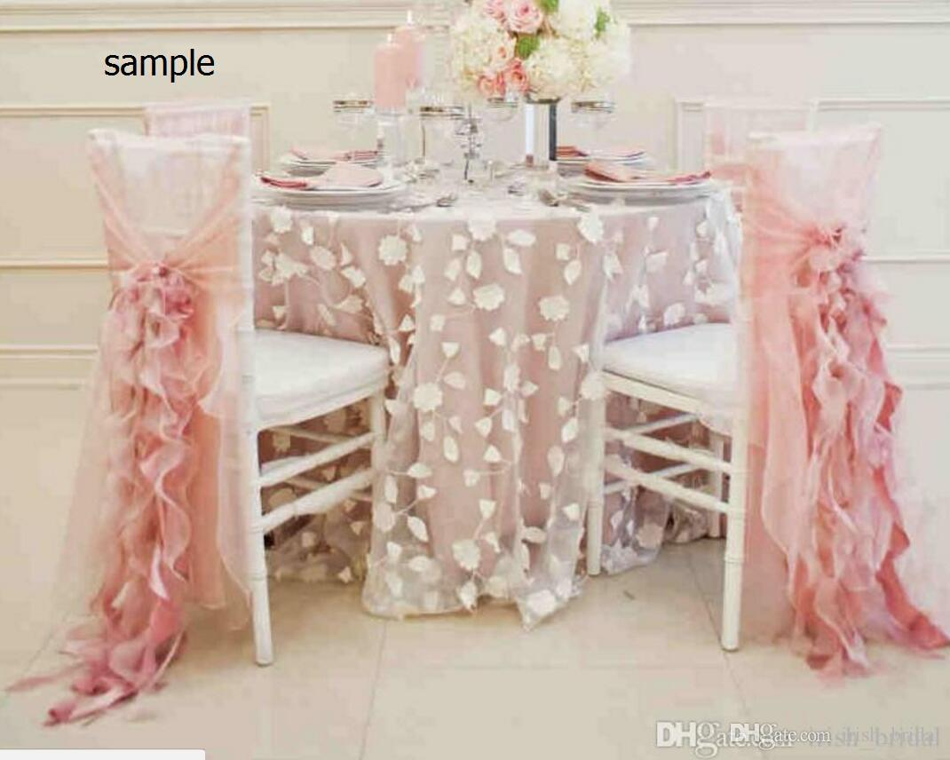 2015 Blush Pink Chiffon Ruffles Romantic Beautiful Chair Sash Sample G01