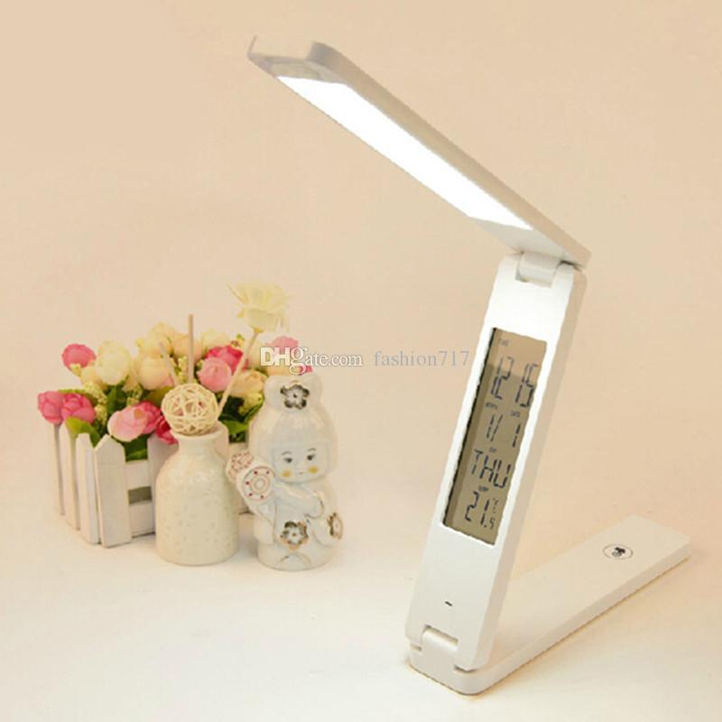 Dimmable LED Desk Lamps Foldable Rechargable Reading Table Lamp Light Touch Control Calendar Alarm Clock Temperature Lamp