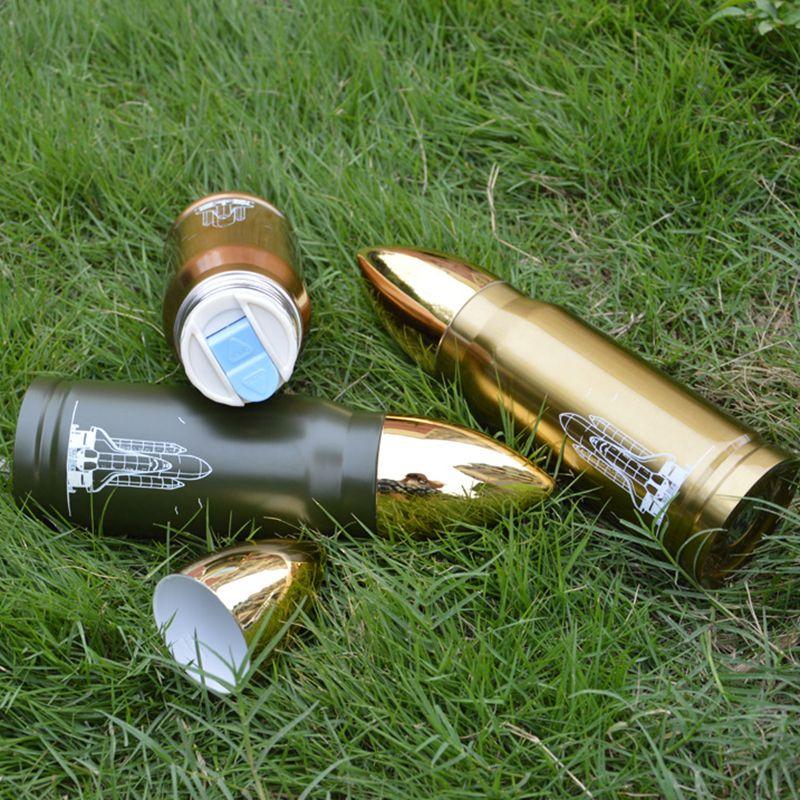Paslanmaz çelik mermi fincan 350 ml roket termos şişesi Erkekler isı soğuk yalıtım kahve süt Termos kupa bardak drinkware