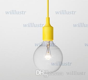 Art Décor Pendentif en silicone E27 ampoule au plafond Porte-éclairage Hanging de base Fixture Socket gel de silice moderne rétro lumière colorée