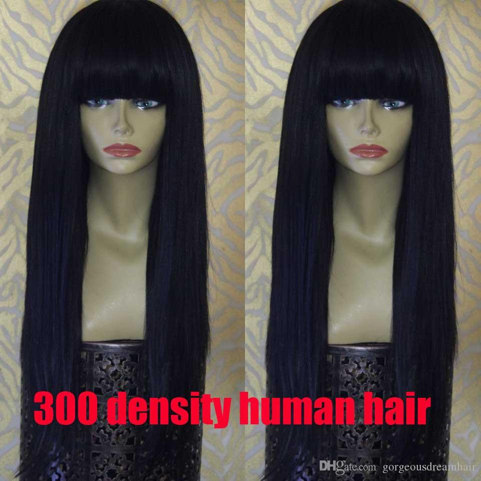 With bangs 300 density Thich 100% brazilian glueless Straight lace front wig with baby hair brazilian high density wig bleachedkont