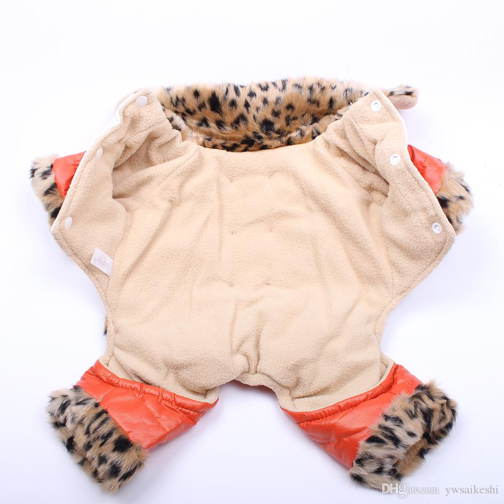 Leopard Dog Cat PU Leather Coat Jacket Pet hoody Puppy Jumpsuit Winter Warm Clothes 5 sizes