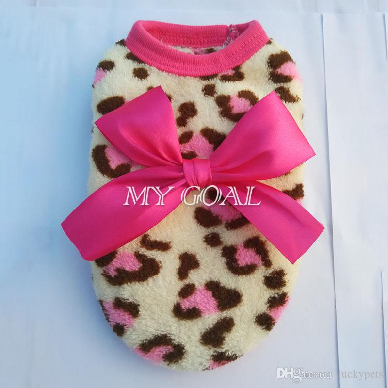 Pets Dog Leopard Clothes Puppy Winter Warm Hoodie Fleece Sweater Costume Apparel With 160912