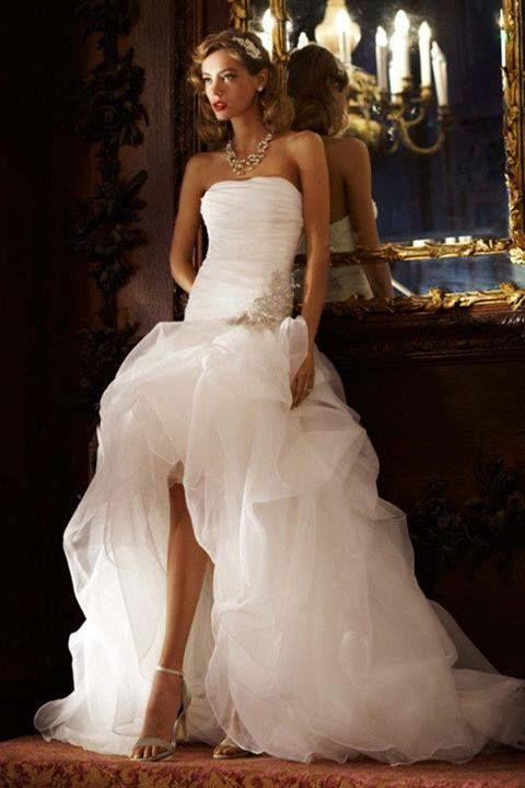 Discount Sexy Drop Waist Hi Lo Beach Wedding Dresses With Ruched Bodice  Ivory Tulle Pick Up Skirt Country Bridal Gown A Line Princess Wedding  Dresses A Line ...