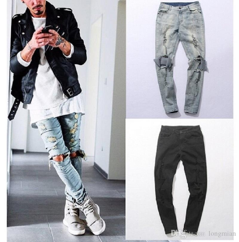 New Autumn Distressed Skinny Ripped hip hop Jeans Mens Big Hole On Knee Swag Streetwear Clothes Destroy Denim Pants
