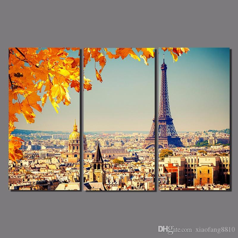 Modern City Parigi foglia d'acero disegno 3 pezzi arancione scena Decorazione Tela Torre Eiffel pittura parete Hanging home decor senza cornice
