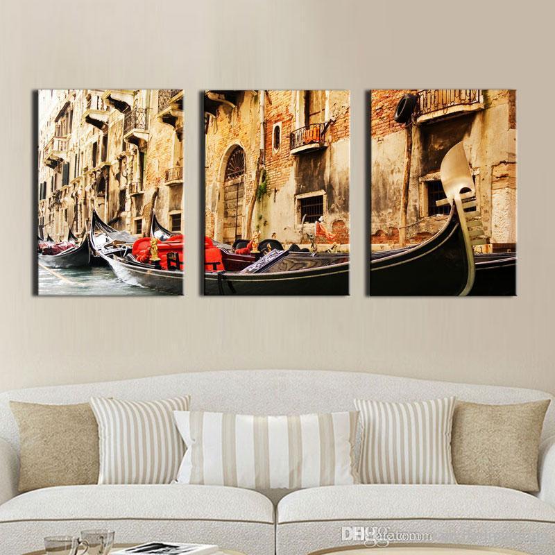 Großhandel 3 Panel Wandkunst Malerei Auf Leinwand Ölgemälde Berühmte  Malerei Sammlung Für Wohnzimmer Venedig Landschaft Bild Home Dekorationen  Von ...
