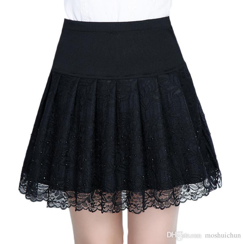 ad266cd235 Compre Diamante De Cintura Alta Falda Corta Delgada De Las Mujeres  Elegantes Faldas De Encaje Negro Con Elástico Primavera Verano Mini Falda  Plisada Saias A ...