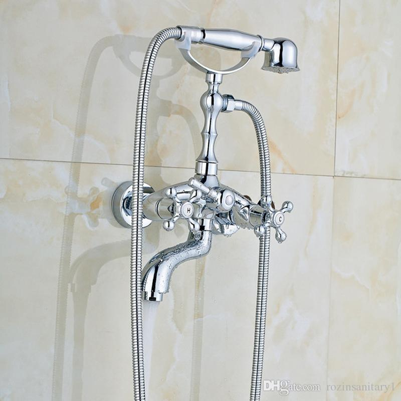 Wall Mounted Bathroom Brass Bathtub Faucet Telephone Style Dual Handle Tub Sink Mixer Tap With Handshower