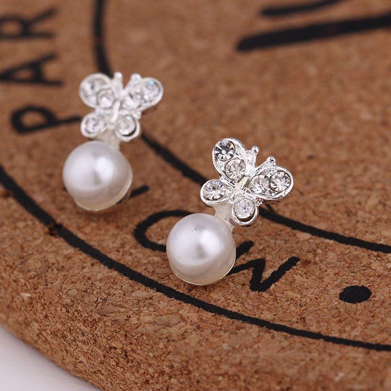 venta caliente 45 estilos creativa del oído Stud Los pendientes del copo de nieve de moda cerveza cristal diamantes de imitación de perlas nuevas pendientes de perlas