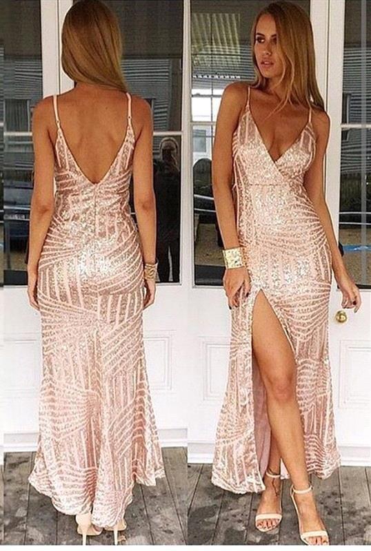 Seksi Çekici Uzun gelinlik Modelleri Spagetti Sapanlar Bling Bling Altın Şampanya Backless V Boyun Yüksek Yan Bölünmüş Nigh Out Elbiseler Örgün Önlükler