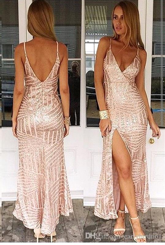 Sexy Sedutor Longo Vestidos de baile Cintas De Espaguete Bling Bling Ouro Champagne Backless V Pescoço Lado Alto Dividir Nigh Out Vestidos Formais Vestidos