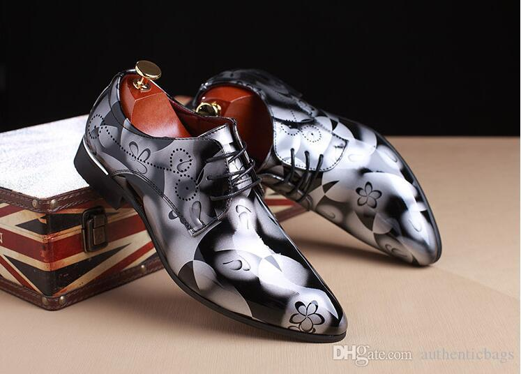 2017 wedding shoes flower leather shoes mens business oxford shoes