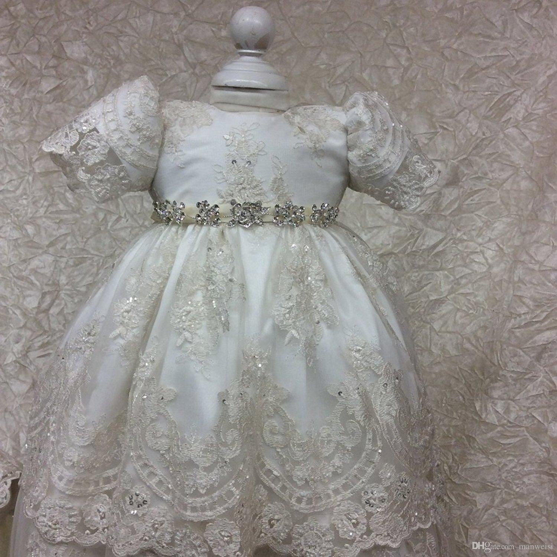 Vestidos de batismo do laço vintage para meninas de bebê mangas curtas apliques beads baptism vestidos com bonnet primeiro vestido de comunicação
