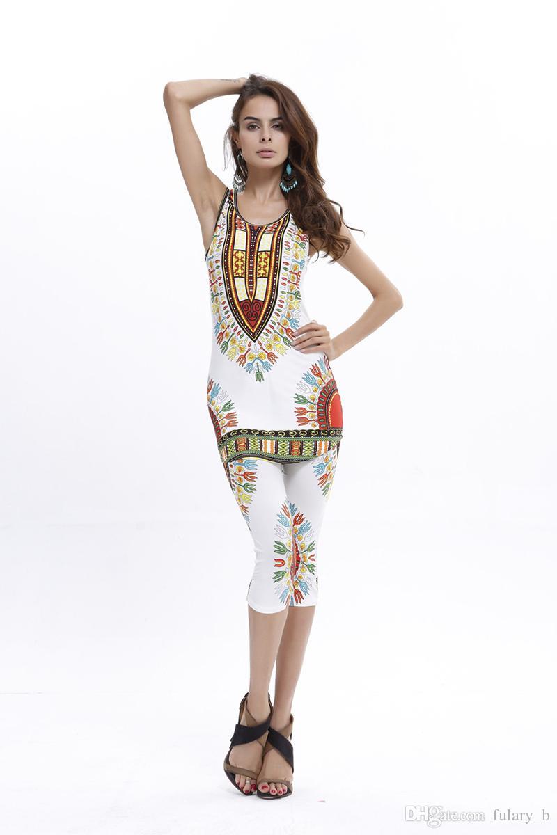 Hot Sale Summer Sexy Bodysuit Fashion Women Geometric Ethnic African Totem Printing Comfortable Elastic Vest + Pants Suit