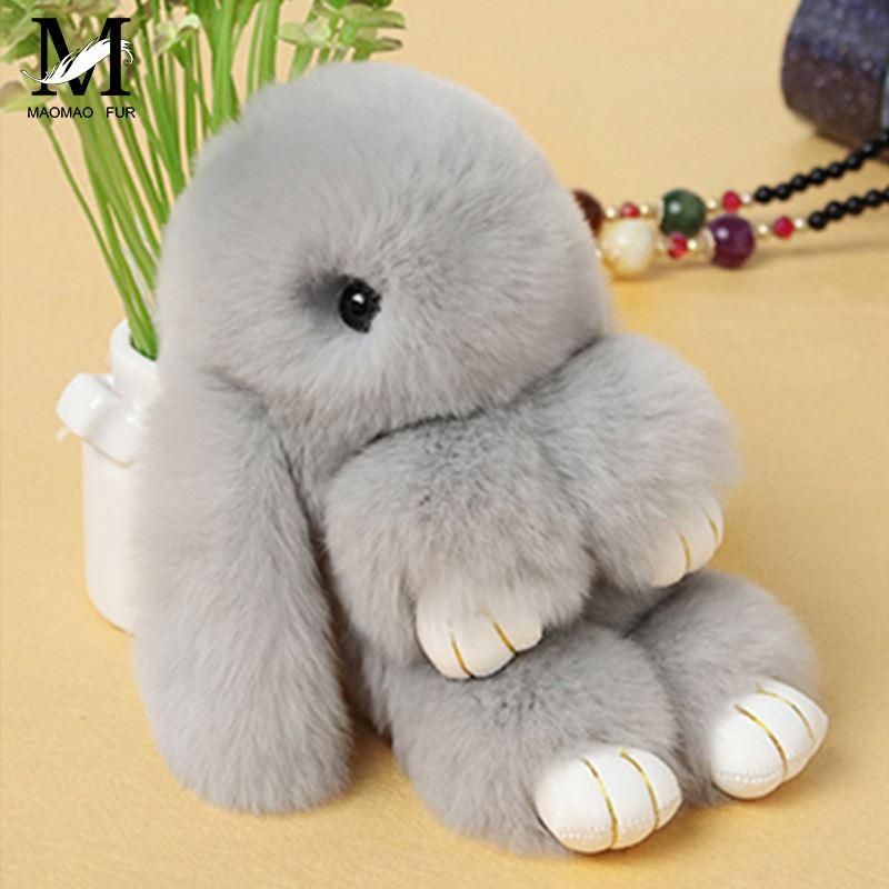 100% Real Genuine Rex rabbit Furs Keychain Pendant Bag Car Charms Tag Cute Mini Rabbit Toy Doll Real Fur Monster Keychains