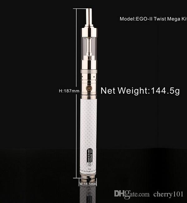 GS EGO kgo 2 II Twist Mega Kit with V-Core 3 GlassTank Atomizer Ego-II Twist Battery 2200mAh EGO II Twist Mega e cigarette Kit 2015 New DHL