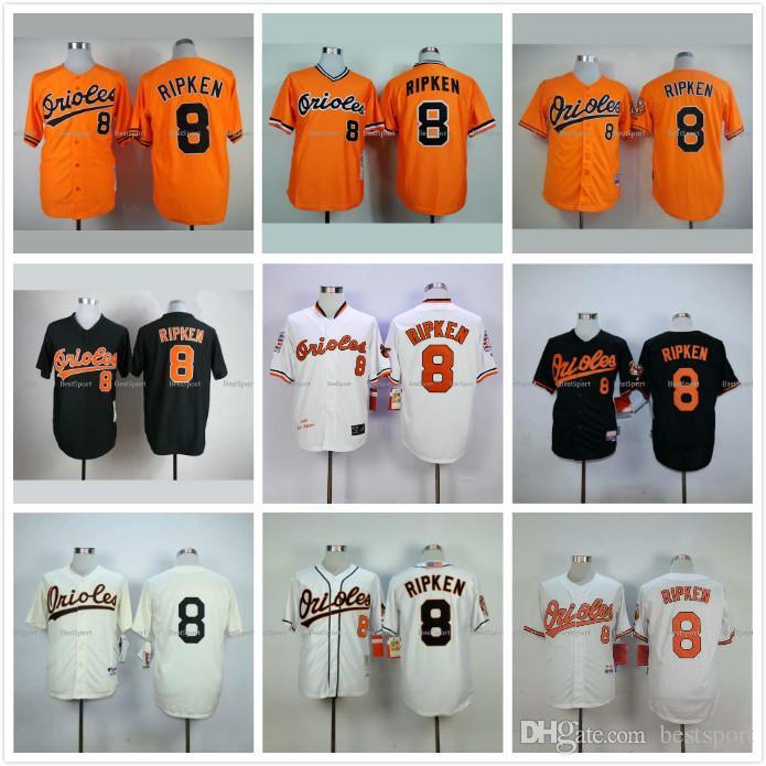 07cf906ce ... Mens Mitchell and Ness Baltimore Orioles 8 Cal Ripken Replica Orange  Throwback MLB Jersey ...