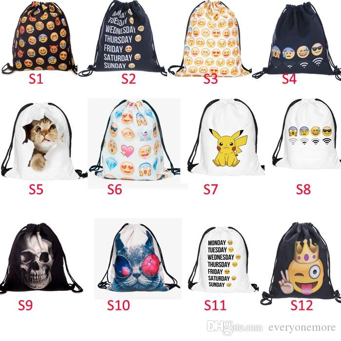 Cute Emoji Drawstring Bags For Women Mens Children Cartoon Unisex ...