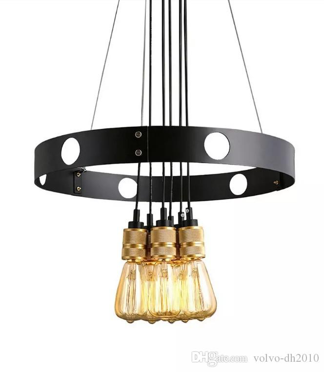 New Edison Bulb Chandelier, Iron Circle, Creative