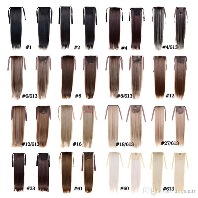 Ponytail Hairpieces de las mujeres de la manera 50cm 22inch 100g Extensiones sintéticas del pelo Cordón Ponytail Hair Ponytail largo y recto Hair