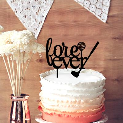 Chic Monogram Wedding Cake Topper Words For Fore Ever With Golf