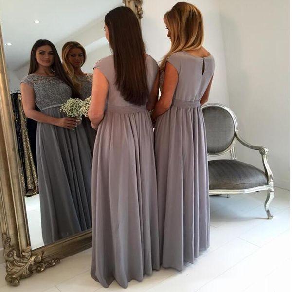 우아한 긴 회색 신부 들러리 드레스 보석 목걸이 모자 소매 A 라인 길이의 시폰 메이드 명예 복장 플러스 사이즈 정장 가운
