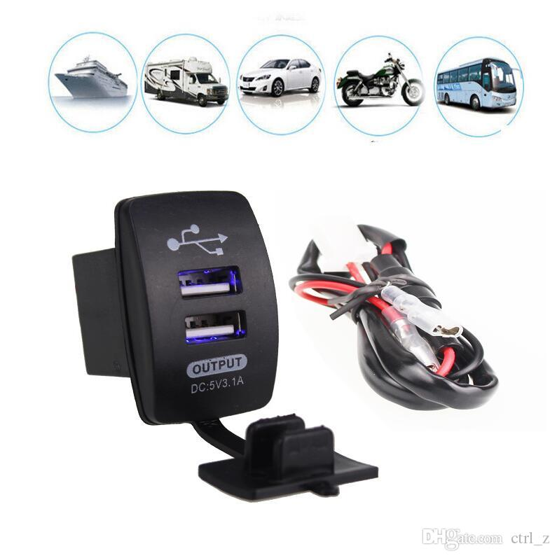 DC 12-24V Waterproof Motorcycle Auto Car Dual USB Power Supply Charger Adapter Socket Splitter for Mobile Phone GPS Tablet with retail