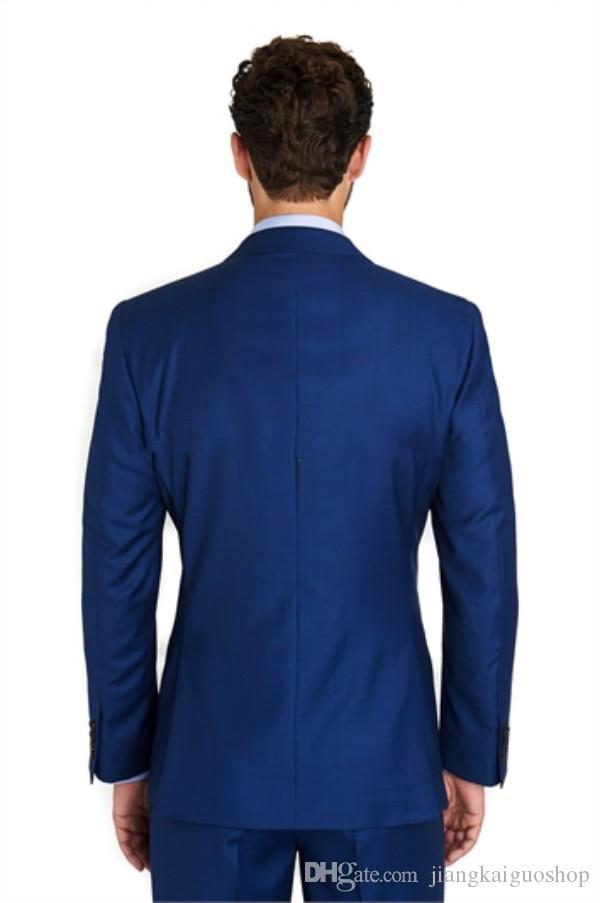 Custom 2015 Two Button Royal Blue smoking smoking Notch Risvolto dello sposo Smoking Smoking Suit Giacca + Pantaloni + Tute abiti da sposa uomo Abiti