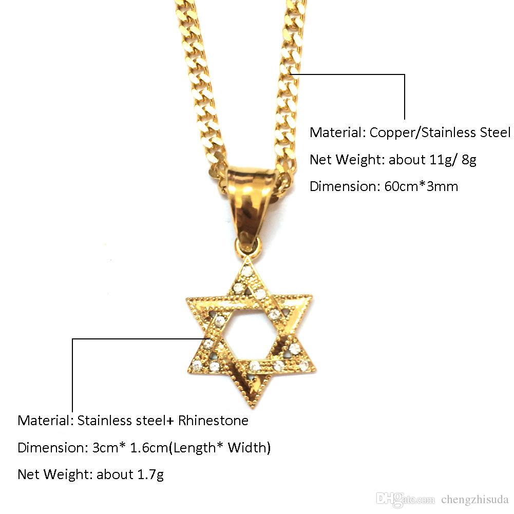 iced out Stainless Steel Gold Mini Star of David Necklace Punk Style Classic Six pointed Hexagram Pendant Jewelry