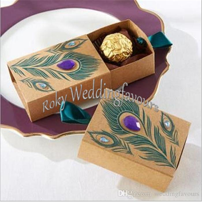 Jeweled Peacock Kraft Wedding Favor Boxes Candy Filler Party Favors