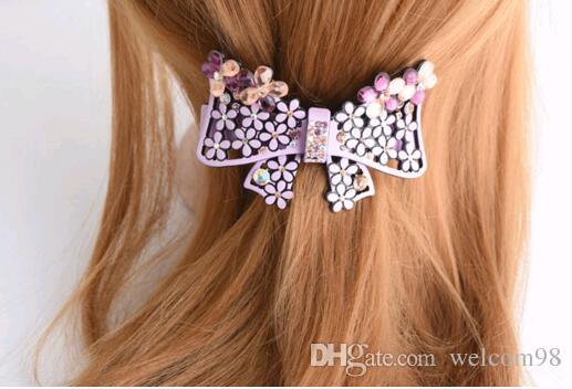 Envío gratis 10 unids / lotl colores de la mezcla de cristal accesorios para el cabello clip Barrettes para el regalo de la joyería HJ006