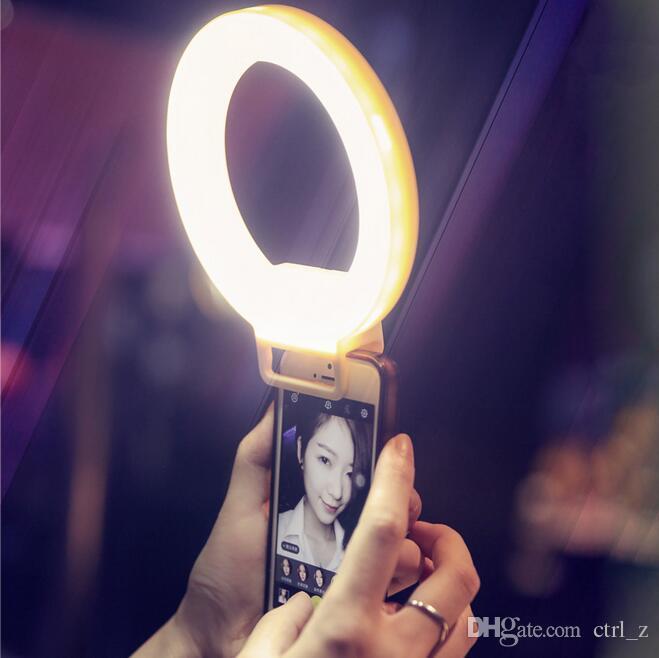 Selfie LED anel flash de luz da câmera de preenchimento de luz fotografia holofote flash de luz noturna tiro para iphone samsung ajustável brilho