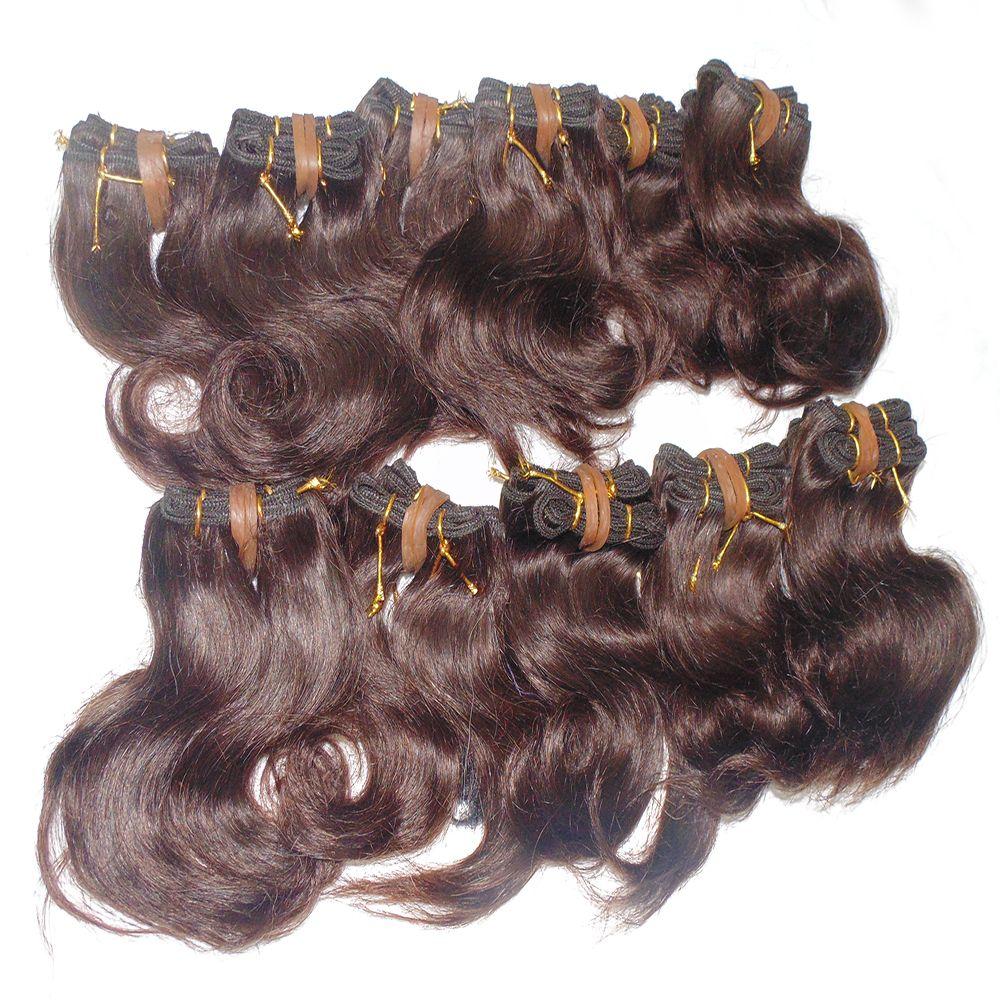 Grand ordre En Gros Beaucoup de Cheveux Collection Cheveux ondulés Brésiliens 8 pouce Couleur Brun Double Trames Rapide DHL service