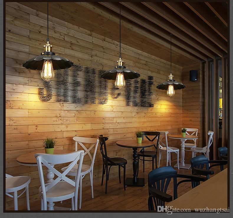 American country Vintage droplight Iron led Chandelier creative personality cafe restaurant bar retro pendant lamp little black Chandelier