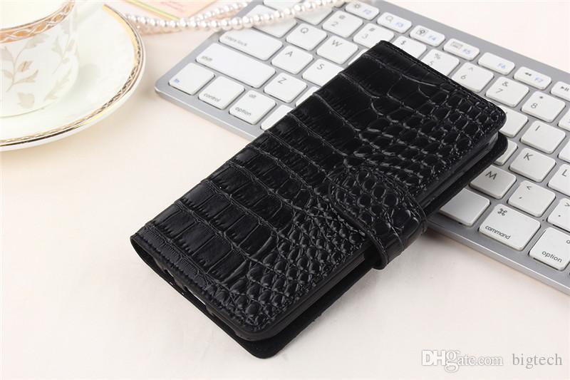 100 unids de lujo de piel de cocodrilo billetera de cuero cubierta del tirón del caso para iphone 7 plus 5.5 pulgadas zte zmax pro z981 teléfono celular bolsas casos
