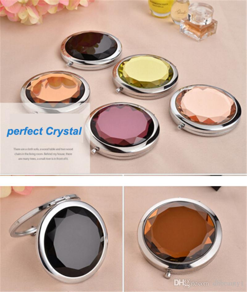 Crystal compact mirror + Free Logo Print Engraved Cosmetic Compact Magnifying Make Up Mirror Wedding Gift for Guests D